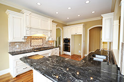 Black Granite kitchen white cabinets T & T Stone