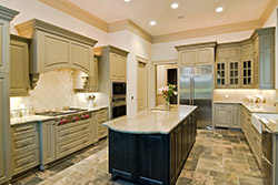 Granite kitchen green cabinets T & T Stone